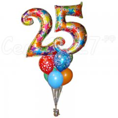 Букет из круглых шаров с цифрами на День Рождения