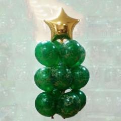Букет гелиевых шаров камуфляжной расцветки с золотой звездой
