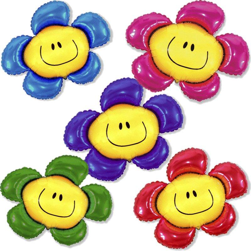 Картинки смайлики с цветами и улыбкой